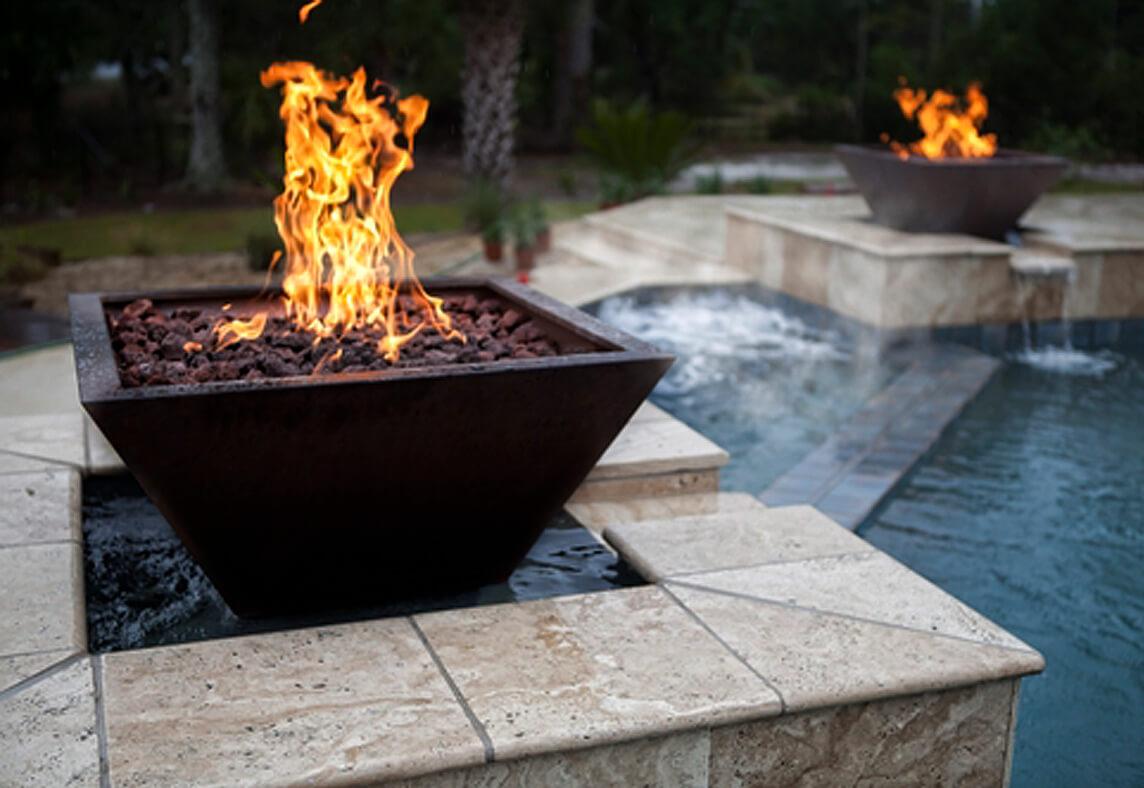Swimming Pool Fire : Photo gallery inground pools spas waterfalls outdoor