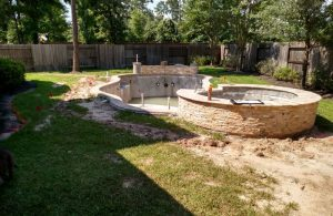 completion of pool tile and coping installation