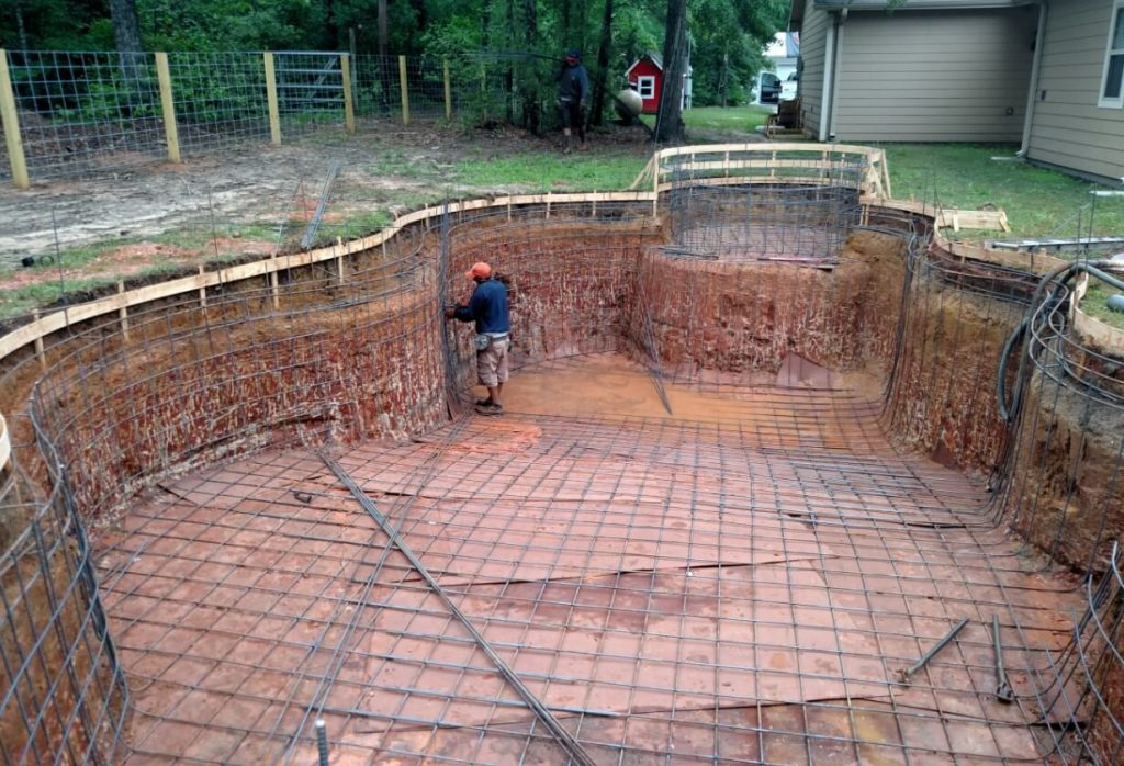 steel rebar installation swimming pool