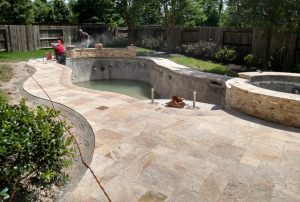completion of the swimming pool decking installation