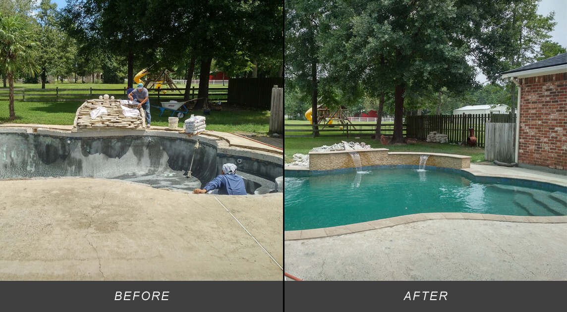 BEFORE AND AFTER POOL RENOVATION PHOTOS
