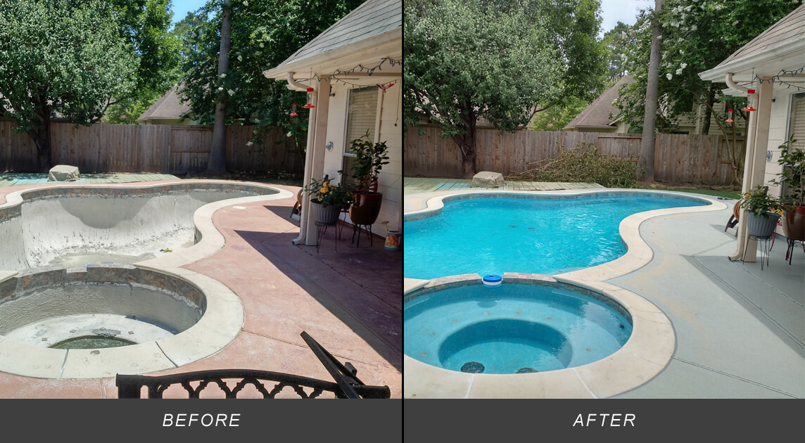pool remodeling before and after photos texas