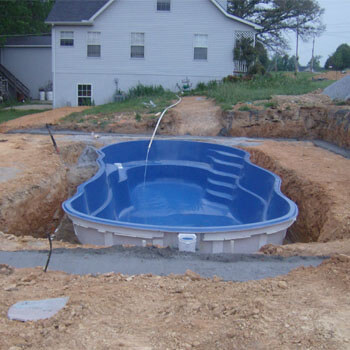 swimming pool construction process fiberglass pool install